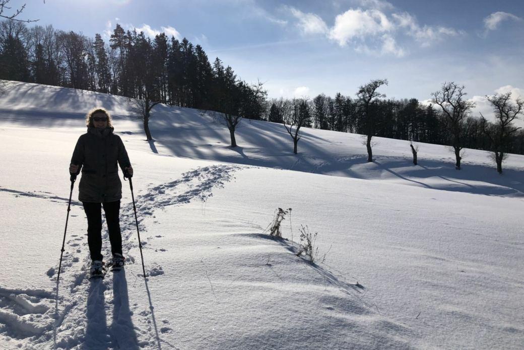 Schneeschuhwandern und Yoga im Mühlviertel